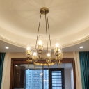 Vintage Chandelier Lighting with Clear Glass Shade 6/8 Lights Round Pendant Lamp in Brass