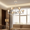 Modern Diamond Chandelier Lamp Cognac Glass 6/8/10 Lights Hanging Ceiling Light in Chrome/Gold