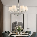 6 Lights Tapered Chandelier Lighting Modern Fabric Shade Chrome Hanging Lamp with Crystal Bead