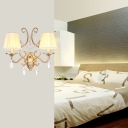 Fabric Conical Sconce Light 1/2-Light Contemporary Wall Mount Lighting with/without Shade in Brass