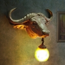 Gold Cattle Wall Lamp with Hanging Crystal/Glass Shade 1 Light Art Deco Wall Mount Lighting