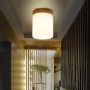 Frosted Glass Geometric Flush Mount Light Nordic 1 Light Flush Ceiling Light Fixture in White for Corridor