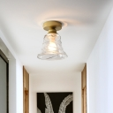 Cyclone Glass Bell Shade Flush Mount Lamp Contemporary 1 Head Flush Mounted Ceiling Light in Clear