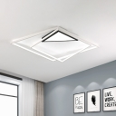 Minimalist Ultra Thin Flush Lighting with Triangle Canopy Integrated Led Flushmount Lamp in Black and White