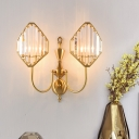1/2-Light Rhombus Wall Mount Fixture Minimalism Wall Light with Metal and Crystal in Gold for Corridor