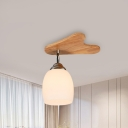 Elongated Dome Ceiling Light Fixture with Milk Glass Lampshade Modern 1/3/4/5/7-Light Ceiling Flush Mount in Wood