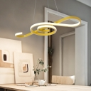 Pink/Yellow Musical Note Chandelier Light Fixture Modern Metal LED Hanging Light Fixture for Dining Room