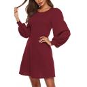 Women's Lantern Sleeve Round Neck Plain Casual Mini A-Line Dress