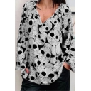 Halloween All Over Skull Pattern V Neck Long Sleeve Oversized T-Shirt