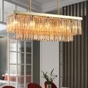 Linear Chandelier Light Amber/Clear Faceted Crystal 10/12 Lights Modern Indoor Pendant Light for Dining Room, 31.5