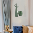 Green/Grey/White Tree Wall Mount Light Nordic Macaron 1 Light Metal Wall Lighting for Bedroom
