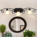 Frosted Glass Floral Wall Lighting Vintage 2/3 Heads Bathroom Wall Sconce Light in Black