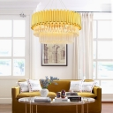 Brass Tube Chandelier for Dining Room, Modern Crystal Metal Pendant Chandelier