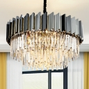 Silver Round Pendant Lighting Modern Crystal Metal Chandelier Light Fixture for Living Room