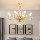 Unique Crystal Chandelier Lighting Traditional Metal 3/6/8 Heads Candle Lighting Fixture in Brass