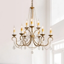 Traditional Candle Chandelier Pendant Light 6/9 Lights Crystal Beaded Hanging Pendant in Brass