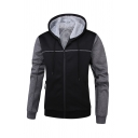 Mens Simple Color Block Long Sleeve Drawstring Hood Zip-Up Thicken Hoodie