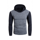 Mens Sportive Colorblocked Long Sleeve Quick Dry Two-Tone Pullover Hoodie