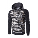 CALIFORNIA 01 Letter Printed Camouflage Panel  Raglan Sleeve Drawstring Hoodie with Pocket