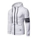 Simple Deer Logo Stripes Panelled Single Sleeve Zip Up Slim Fit Hoodie with Pocket