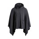Plain Sleeveless Drawstring Hood Asymmetric Hem Cape Hoodie with Pocket