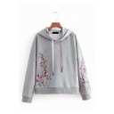Chic Plum Flower Embroidery Long Sleeve Drawstring Hoodie