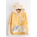 Lovely Dog Pattern Paneled Pocket Colorblocked Long Sleeve Pullover Hoodie for Students