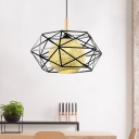 Pendulum Pendant Light with Geometric Metal Cage Modern 1 Light Woven Hanging Ceiling Light in Black