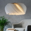 1 Light Donut Pendant Light Modern Acrylic Living Room Suspension Lamp in White