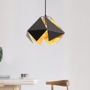 Black Faceted Hanging Pendant Light Modern Iron Shade 1 Light 8.5