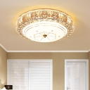 Clear K9 Crystal Round Flushmount Modern Luxury Led Flush Ceiling Light in Gold for Living Room