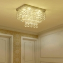 Dining Room Rectangle Flush Ceiling Light Clear Crystal Ball Metal Elegant Style LED Ceiling Lamp