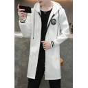 Mens New Fashion Badge Patched Long Sleeve Zip Up Longline Hoodie