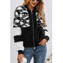 New Fashion Camouflage Print Long Sleeve Color Block Warm Fluffy Teddy Zip Up Sweatshirt