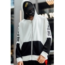 Hot Fashion Letter Print Colorblock Patch Long Sleeve Sports Unisex Hoodie