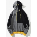 Mens Black And Grey Colorblock Letter Cat Printed Long Sleeve Casual Sports Pullover Hoodie with Pocket