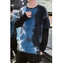Men's Unique Creative Tie Dye Print Round Neck Long Sleeve Fake Two-Piece Casual Loose Sweatshirt