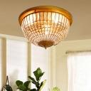 Crystal Bowl Flush Mount Ceiling Light Modern Iron Mesh Flush Ceiling Lights for Bedroom