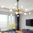 Mid Century Modern Sputnik Chandelier Metal Multi Light Pendant Light with Milk Glass Shade