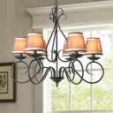 Cone Hanging Ceiling Light with Coffee/Flaxen/White Fabric Shade 6 Lights Traditional Chandelier in Black