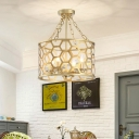 Brass Honeycomb Pendant Light with Drum Metal Shade 4/6 Lights 16