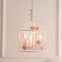 White Birdcage Foyer Pendant Light Rustic Triple Light Metal Chandelier Lamp with Blue/Pink Flower