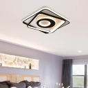 Black and White Square Flushmount Contemporary Metallic Led Indoor Ceiling Light for Bedroom, 16