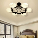 White Orb Shade Semi Flushmount Light with Orb Shade 6/8 Lights Frosted Glass Ceiling Fixture for Hotel