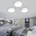 Black/White Drum Shade Ceiling Light 3/6/9 Heads Nordic Style Acrylic Semi Ceiling Mount Light for Living Room