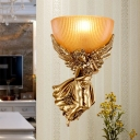 Ribbed Glass Bowl Wall Sconce with Right/Left Angel 1 Light Decorative Wall Mounted Lamp in Gold/White