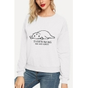 Fashion Women's Funny Cat Printed Long Sleeve Plain Graphic Pullover Sweatshirt