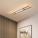 Ultra Thin Flush Ceiling Light with Linear Design Led Ceiling Flushmount Light in Brown, 16