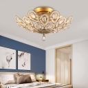 Gold Peacock Semi Flushmount Lamp 3 Lights Metal and Crystal Semi Flush Lighting for Bedroom