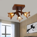 Country Style Cone Semi Flush Lighting Wood and Amber Glass 3/5/8 Lights Living Room Ceiling Lamp